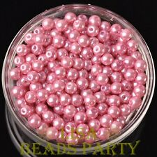 300pcs 6mm Round Czech Glass Pearl Loose Spacer Beads Deep Pink