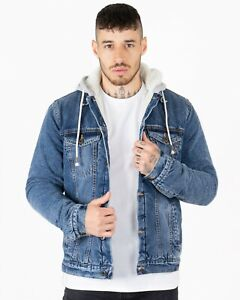 New Men's Sherpa Lining Denim Trucker Hooded Jean Button up Pocket Jacket Coat