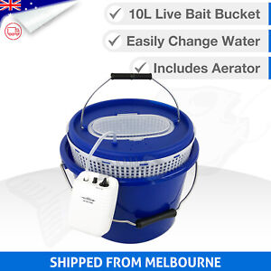 10L 3in1 LIVE BAIT BUCKET & Free Aerator Pump - 120+ hrs run time - 2 speed