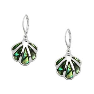 Seashell Fashionable Earrings • Leverback • Abalone Paua Shell • Rhodium Plated