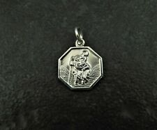 Vintage Solid Silver St Christopher Lucky Travel Charm For Bracelet