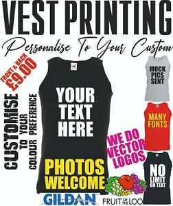 Personalised Custom Vest Printing Mens Text Stag Gym Events Sleeveless Vests Top