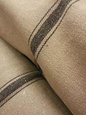 SALE Grain Sack Fabric By-The-Yard - Tan Fabric w/3 Black Stripes