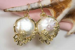 Orecchini con perle naturali, argento 925 placcato oro giallo, orecchini sposa