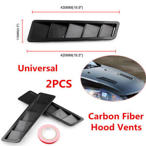 2X Universal Carbon Fiber Style Hood Vents Louver Cooling Panel Trim ABS Plastic