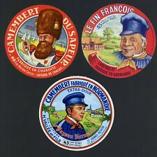 Set of Three Original French Camembert Cheese Labels, Men in Hats, 635