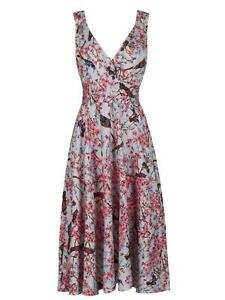 Oriental Blossom & Bird Print 40s 50s Tea Dress New UK Size 8