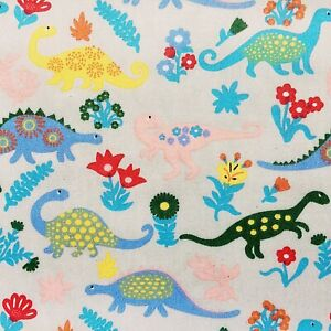 NEW PolyCotton Silver Grey DINOSAUR  Fabric KIDS Children Craft Metre