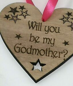 Will you be my Godmother? Wooden Heart, Laser Engraved 10cm x 10cm