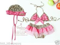 New baby & toddler girls Swimwear Leopard bikini kids Swimsuit &skirt & hat