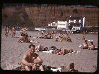 1947 Kodachrome Photo slide  Santa Monica CA  Los Angeles County sunbathers