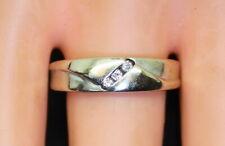 Nice Heavy 14K White Gold Men's Comfort Fit .06 Ct Diamond Wedding Band/Ring s9