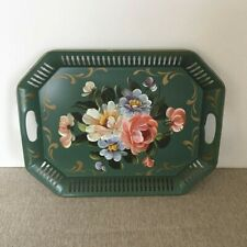"""Vtg Hand Painted Chippendale Metal Toleware Tray Green Rectangular Flowers 17.5"""""""
