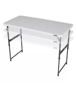 NEW 4 Ft. Fold In Half One Hand Adjustable Height Table Home/Yard/Indoor/Outdoor