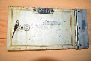 VINTAGE DIEBOLD SAFE DEPOSIT BOX DOOR W/ 2 KEYS FROM MOVIE PEACOCK - ODEBOLT, IA