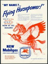 1945 Pegasus red horse art Mobil Oil Gas Flying Horsepower vintage print ad