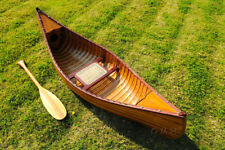 Display Cedar Wood Strip Built Canoe 6' Wooden Model Boat With Ribs New