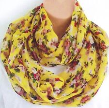 Gorgeous Vintage Style Yellow Floral Circle Loop Infinity Scarf Snood - New!