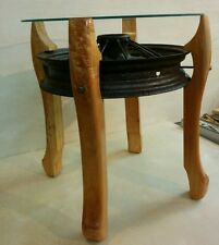 Industrial Modern Glass Top End Table! Maple Legs Ford Model A Metal Rusty Wheel