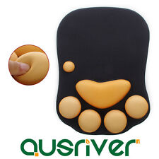 Comfortable Cat Paw Mouse Pad Mat + Wrist Rest Soft Rubber Laptop Computer PC
