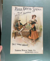 Bell Strings For Musical Instruments Litho Sign C 1910 New Brunswick New Jersey