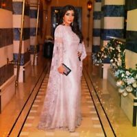 Long Sleeve Formal Pageant Evening Party Prom Dress Gown Arabic Cape Lace Custom