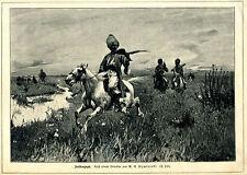 Falkenjagd -- Wywiorski -- Holzstich -- aus 1898-