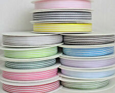 5mm 10mm x 2M POLYESTER STRIPE RIBBON.LILAC,YELLOW,RED,NAVY,GREY,BLUE,GREEN,PINK