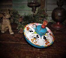 Primitive Antique Vtg Metal 1975 Walt Disney Micky Mouse Spinning Top Toy USA