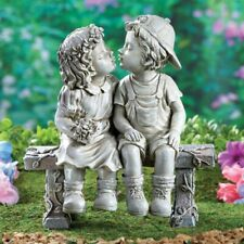 Couple Girl Boy Kissing Love Garden Antique Sculpture Yard Statue Art Lawn Decor