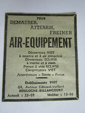 1937 PUB AIR EQUIPEMENT VIET DEMARREUR COMPRESSEUR TRAIN ATTERRISSAGE AVION AD