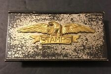 Vintage Napier Silverplated Metal Hinged Office Stamp Box Eagle