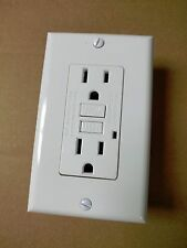 (5 pc) NEW 15A GFCI Outlet Receptacle 15 Amp White w/ LED Light + Wallplate