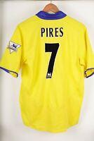 Arsenal 2003/2005 Pires #7 Away Yelow Nike O2 Football Shirt Jersey Size S