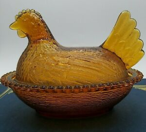 """Chicken Hen on Nest Covered Dish Beaded VTG Indiana Amber Glass 7"""" x 6"""""""
