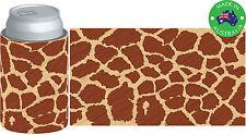 6xDesigner Beer Can STUBBY HOLDER Stubbie Cooler Koozie with base Giraffe design