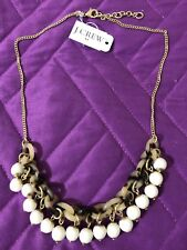 NWT & Dust Bag J Crew TORTOISE LINK BAUBLE NECKLACE DUSTY IVORY $49.50 H7350