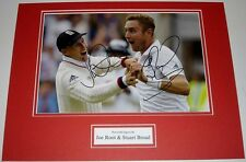 JOE ROOT & STUART BROAD ENGLAND CRICKET PERSONALLY SIGNED AUTOGRAPH PHOTO MOUNT