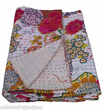 """White Twin Kantha Quilt Fruit Print Bedspread Bed Cover Kantha Rallies 60""""x 90"""""""