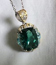 Gems en Vogue 17.08ctw Brazilian Teal Fluorite & Swiss Blue Topaz Pendant/Chain