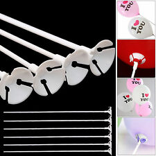 100 Pcs White Balloon holder Sticks and Cups No Helium Party Wedding Supplies