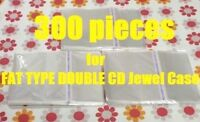 Resealable Outer Plastic Sleeves for FAT TYPE DOUBLE CD Jewel Cases 300 pieces