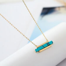 925 Sterling Silver Natural Turquoise Healing Crystal Lucky Bar Pendant Necklace