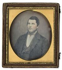 Sixth Plate Daguerreotype Man Tinted Photo Photograph Portrait 6th Case Leather