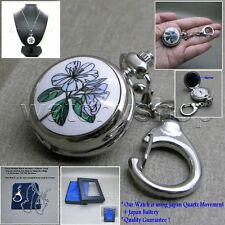 Silver Women Pendant Watch with Mirror 2 Ways Key Chain and Necklace Gift Box 54