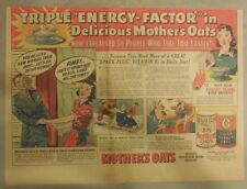Quaker Cereal Ad: Mother's Oats Triple Energy Factor from 1940's 11 x 15 inches