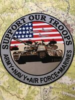 """SUPPORT OUR TROOPS [12"""" Embroidered] Motorcycle Jacket Patch / Sew-on Heat Seal"""