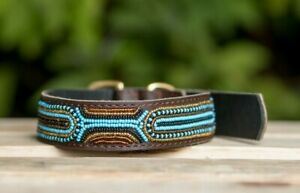 Handmade Leather Maasai Tribe Dog Collar from Africa, Kenya with A Free ID Tag.