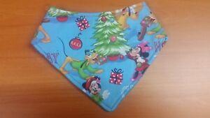Handmade bandana bib - snap closure - Mickey Mouse and Friends Christmas themed