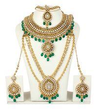 Indian Designer Gold Plated Bridal Polki Jewelry Kundan Women Necklace Set